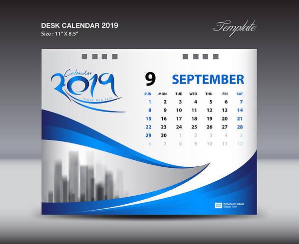 September Desk Calendar 2019 Template, Week Starts Sunday