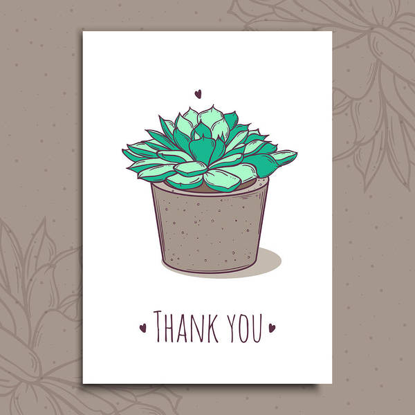 Cute Ready-to-use Gift Romantic Postcards With Succulent In Pot