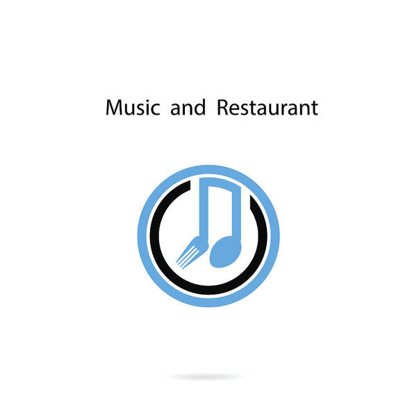 Spoon And Fork Icon With Musical Note Vector Design Templatemusic