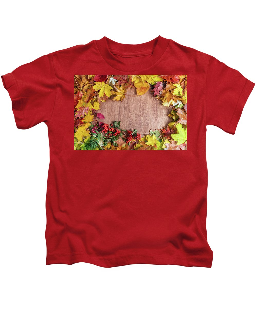 T Shirt Frame Frame Made Of Fall Leaves On Wood Autumn Background Kids T Shirt