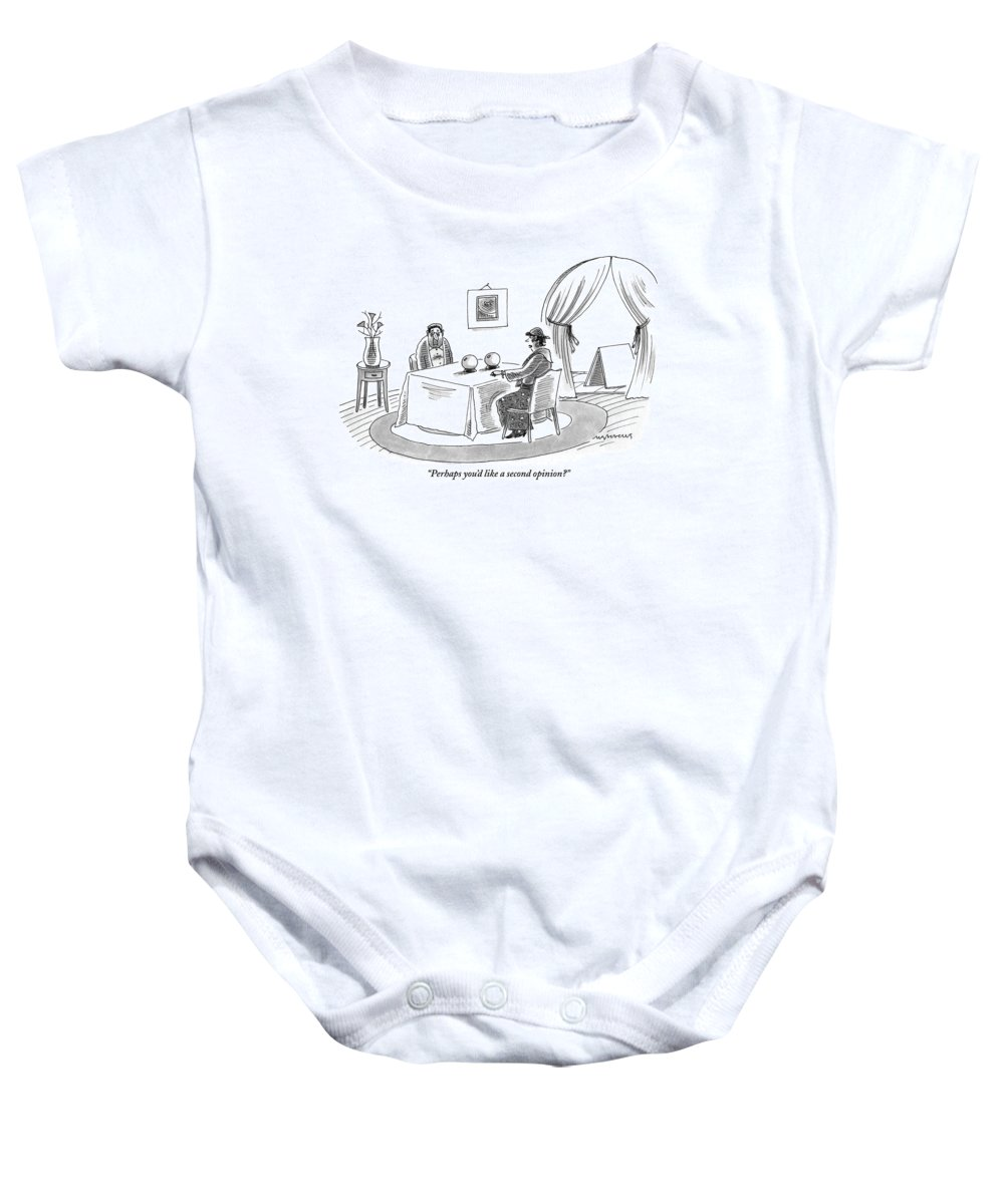 Baby Teller A Fortune Teller Is Speaking With A Sad Looking Baby Onesie