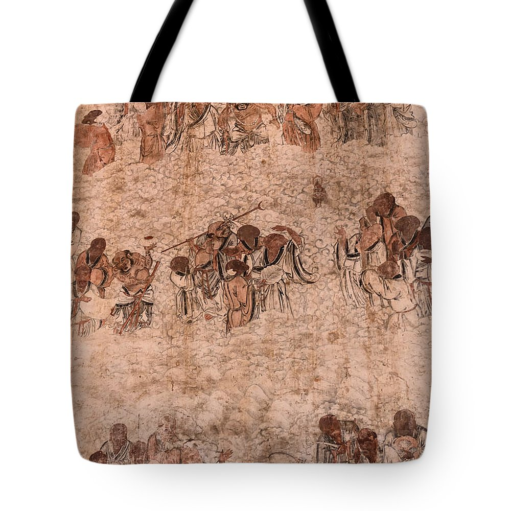 Wall Paintings For Sale Bodhidharma And His Followers Wall Paintings At Shaolin Temple Tote Bag