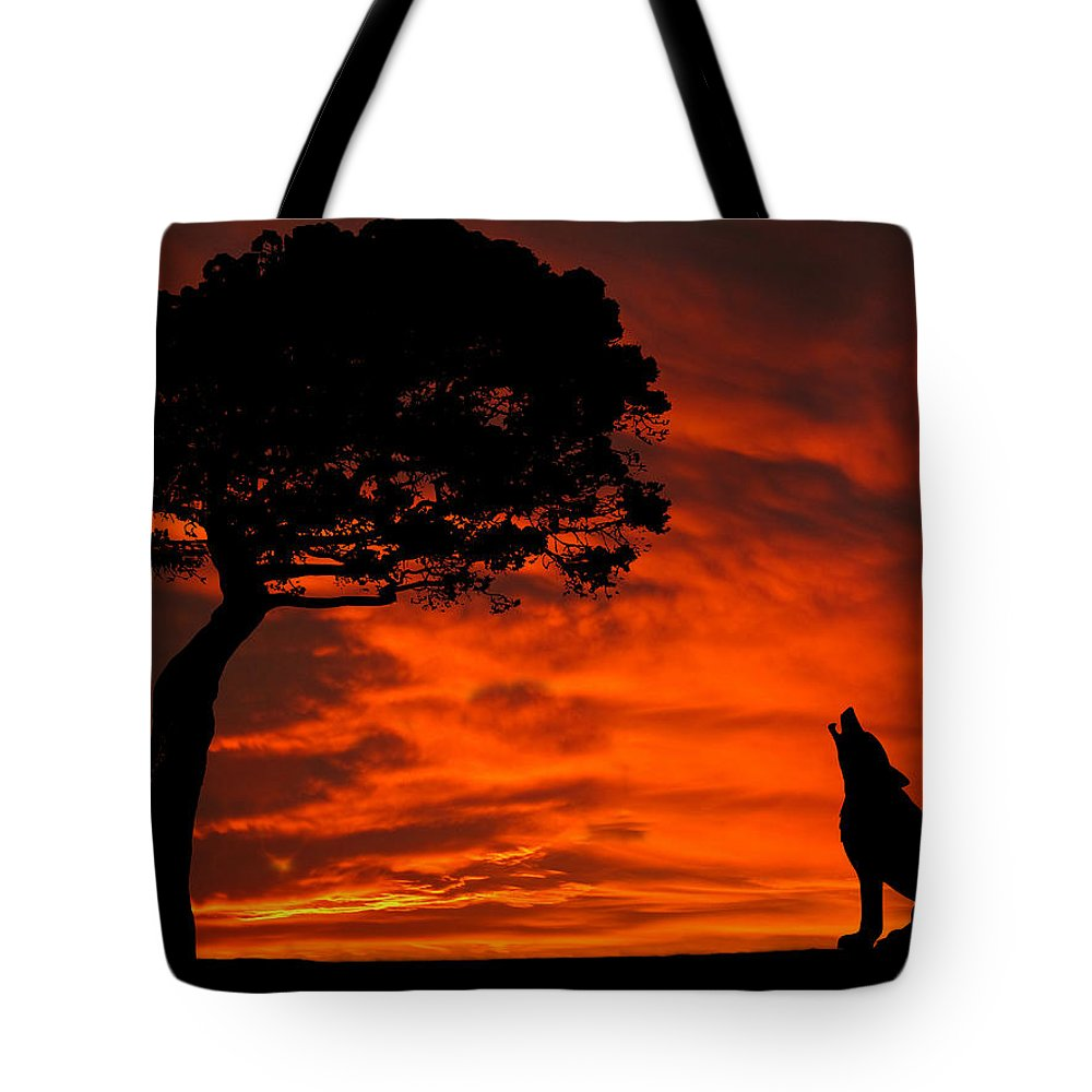 Dehner Shop Wolf Calling For Mate Sunset Silhouette Series Tote Bag