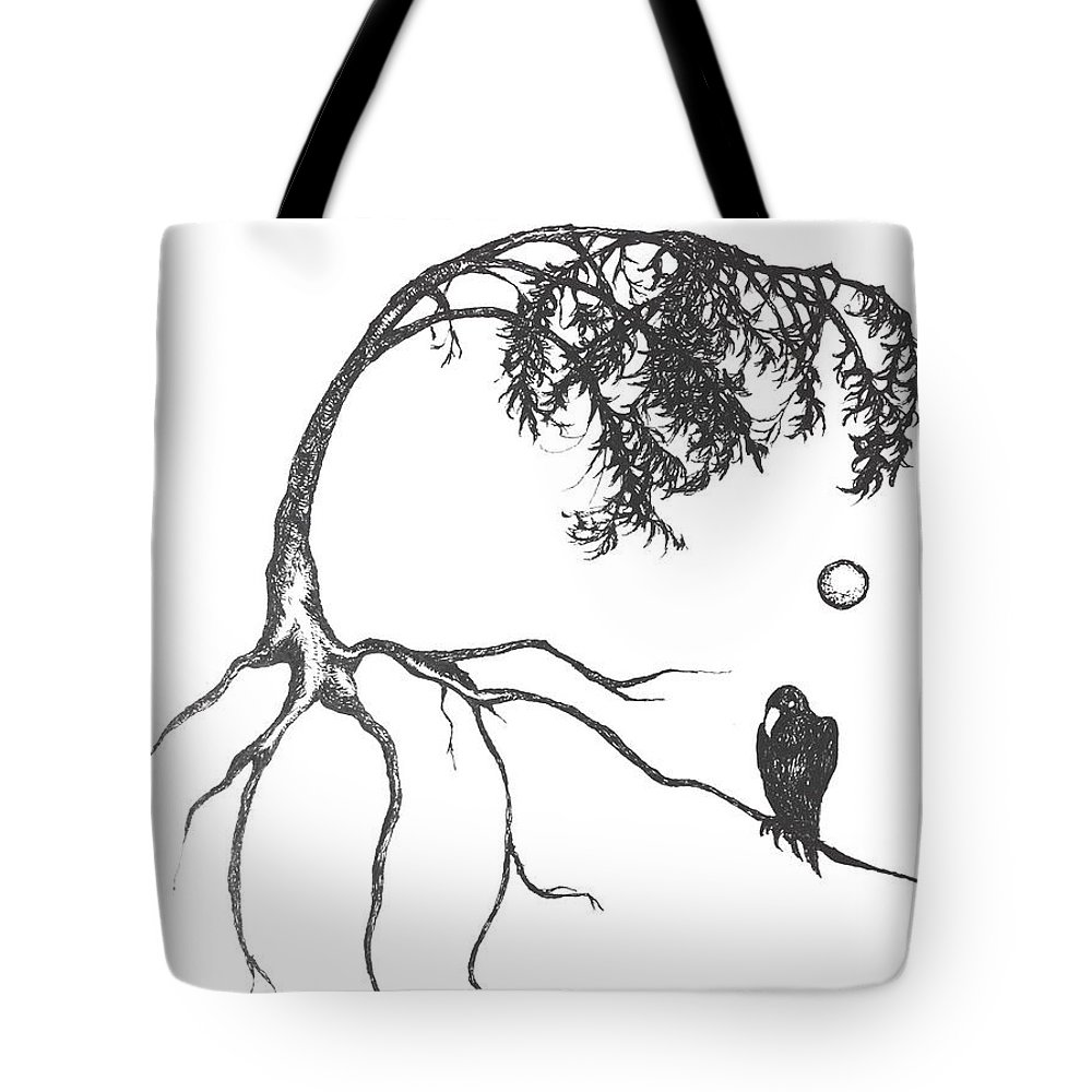 Full Moon Drawing Black And White Full Moon Tote Bag