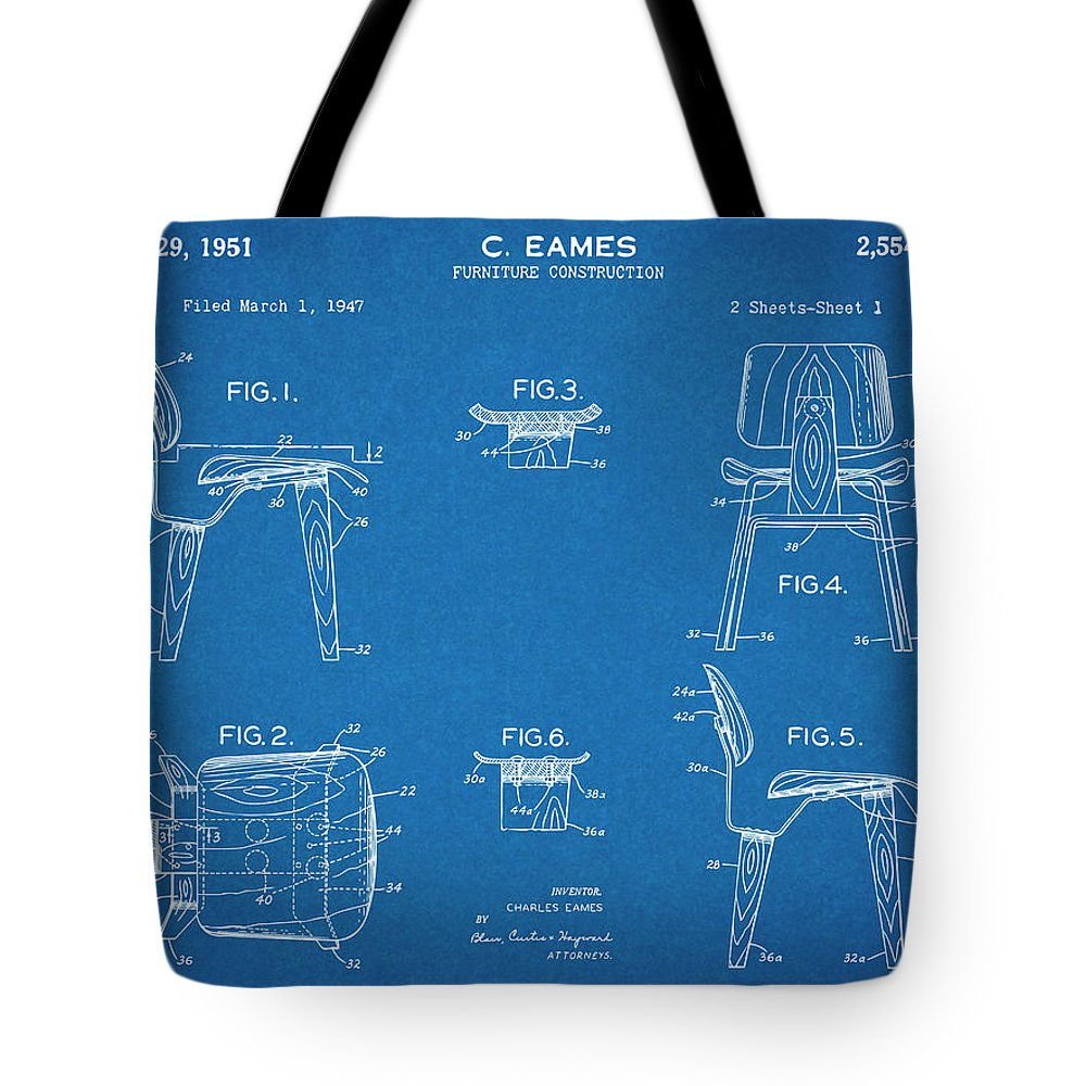 Eames Chair Patent 1947 Eames Chair Patent Print Blueprint Tote Bag