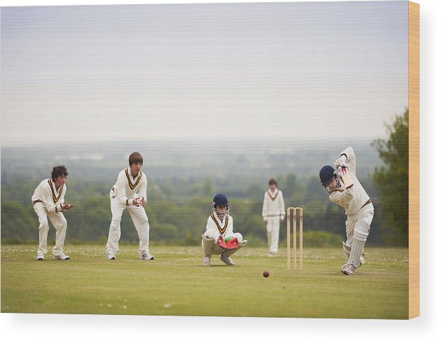 Boys Playing Cricket, Great Ballard School Wood Print