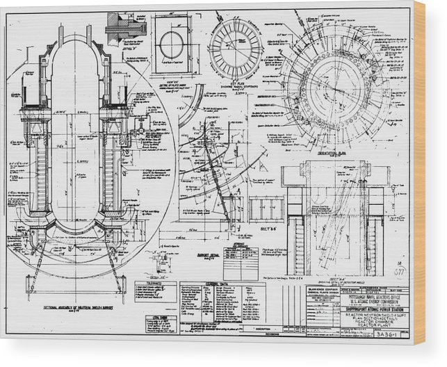 Nuclear Power Plant Components, Diagram Wood Print by Library Of