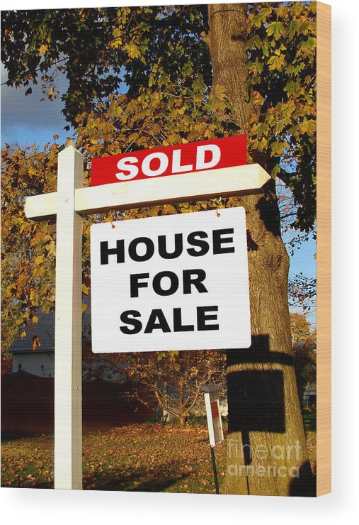 Real Estate Sold And House For Sale Sign On Post Wood Print by