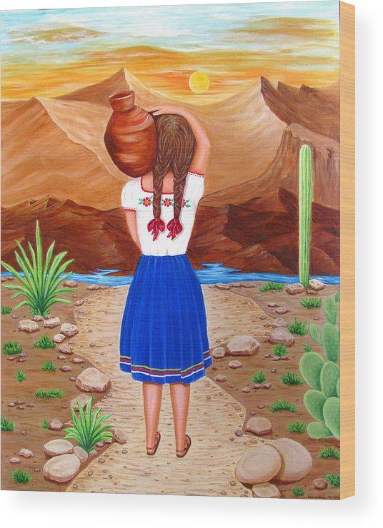 El Cantaro Wood Print by Evangelina Portillo