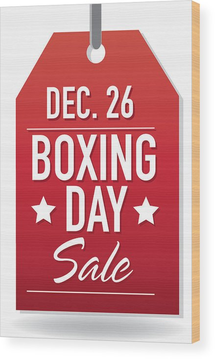 Boxing Day Sale Advertisement With Red Tag And Sample Text Wood
