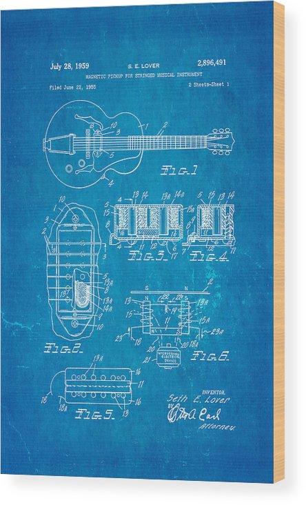 Seth Lover Gibson Humbucker Pickup Patent Art 1959 Blueprint Wood