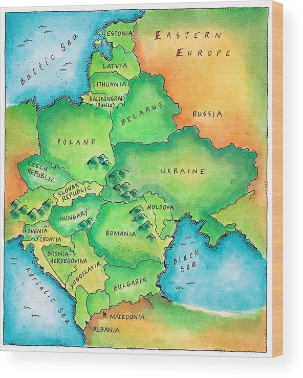 Map Of Eastern Europe Wood Print by Jennifer Thermes