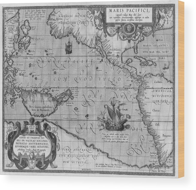 Old World Map Print From 1589 - Black And White Wood Print by