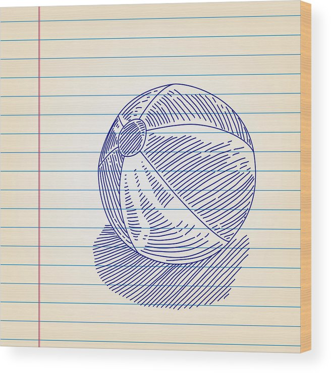 Beach Ball Drawing On Lined Paper Wood Print by LEOcrafts