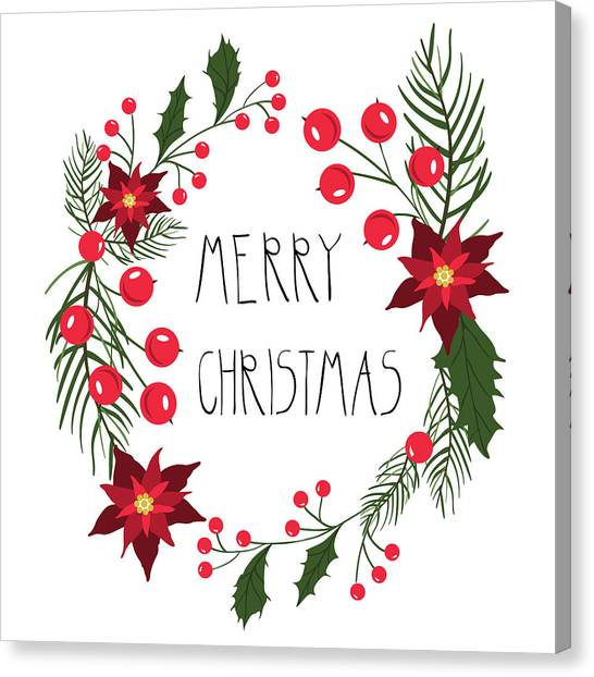 Floral Round Frame For Christmas Holiday Cards With Flowers And