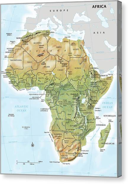 Africa Continent Map With Relief by Globe Turner, Llc