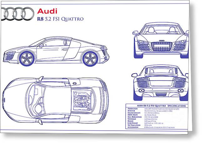 Audi Greeting Cards Fine Art America - best of blueprint drawings of audi r8
