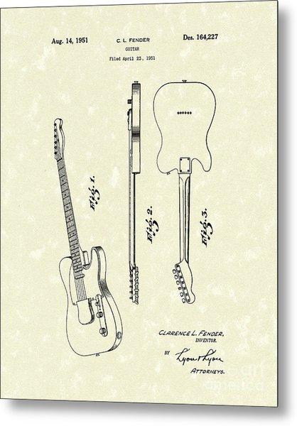 Fender Guitar 1951 Patent Art Drawing by Prior Art Design