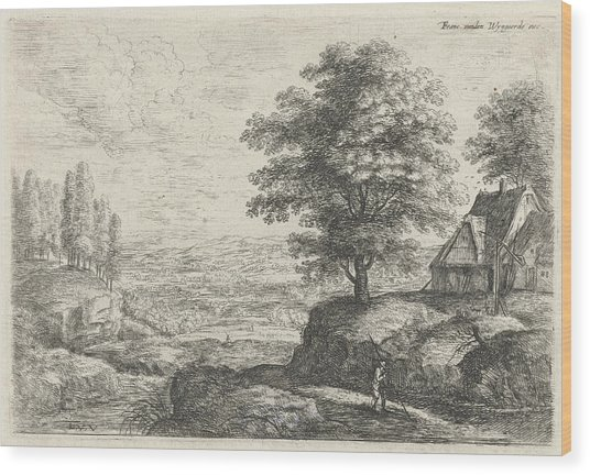 Landscape With A Man With Staff Walking Past A Farm Drawing by