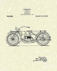 Motorcycle Design 1919 Patent Art Drawing by Prior Art Design