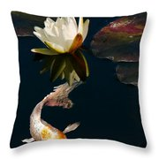 Oriental Koi Fish And Water Lily Flower Photograph By