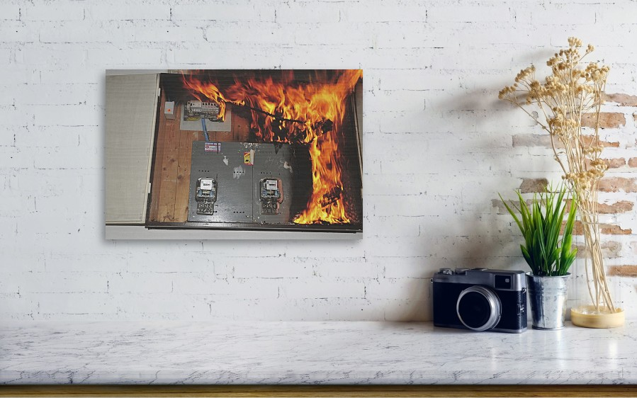 Electrical Fire In A Household Fuse Box Wood Print
