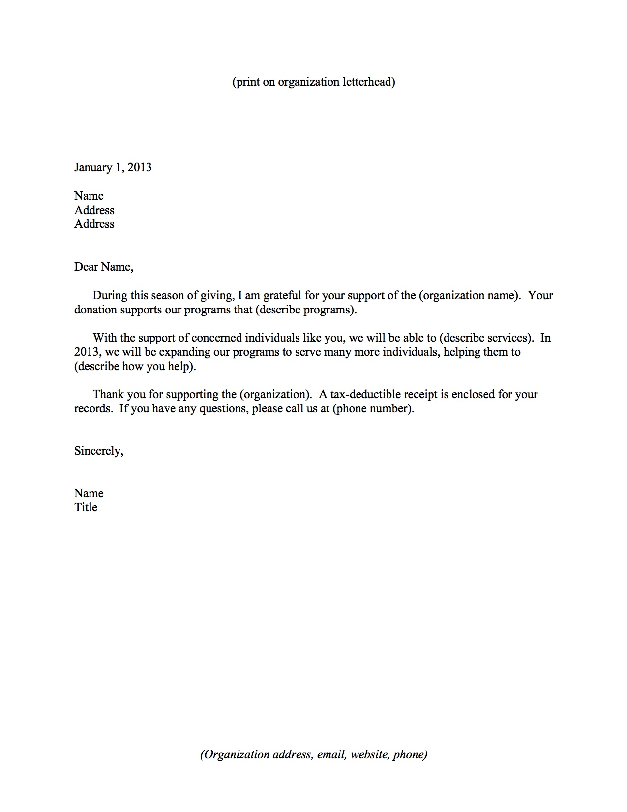 Sample Letter Giving A Donation   cover letter template for resume