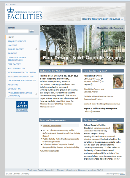 Columbia University Facilities Website Snapshot