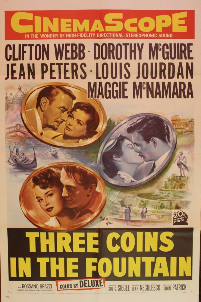 "Ceiling Fixtures ""three Coins In The Fountain"" Movie Poster & Set Of Lobby"