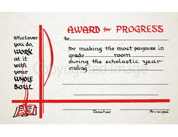 Award of Progress School Certificate - Renovar Designs