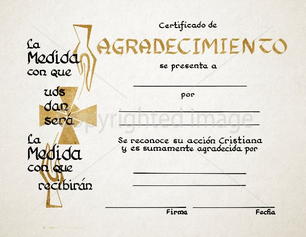 Spanish Certificate of Appreciation - Renovar Designs - certificado de agradecimiento cristiano
