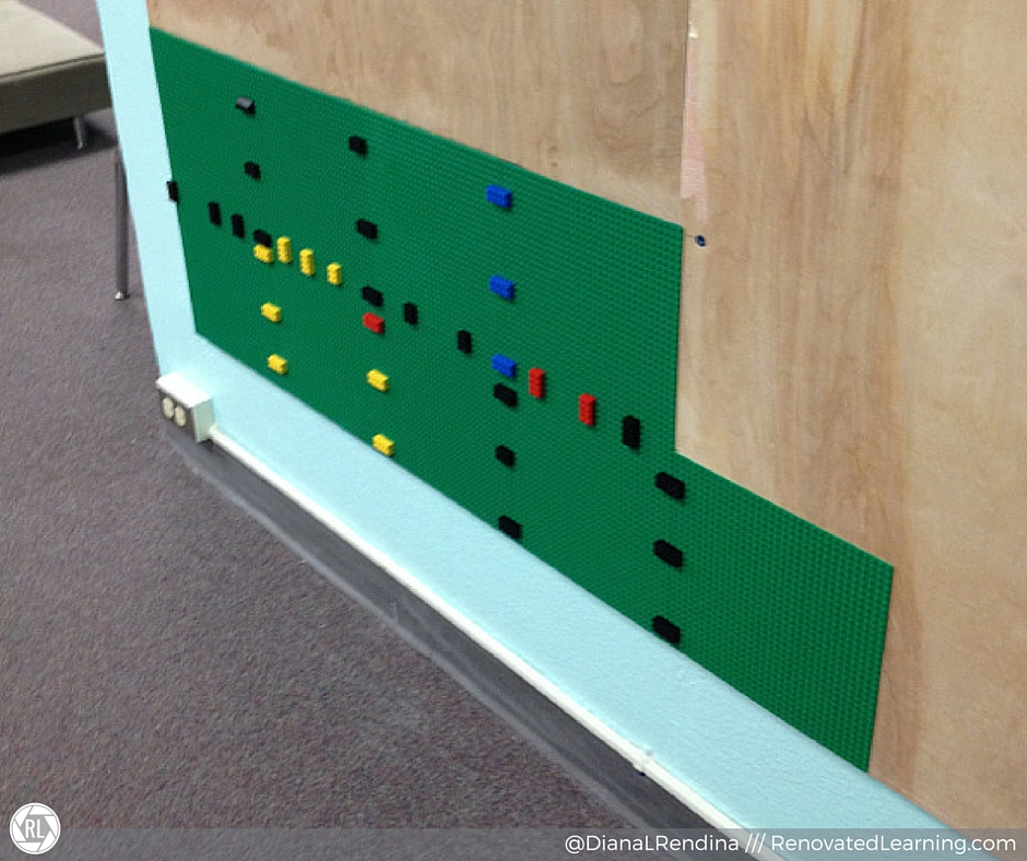 Use larger LEGO bricks to secure the plates to one another. This spaces things out correctly. | RenovatedLearning.com