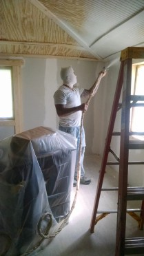 Finally moving on to spraying primer in a 100 year old farm house!