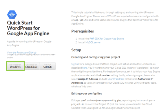 01_Quick Start WordPress for Google App Engine on GitHub