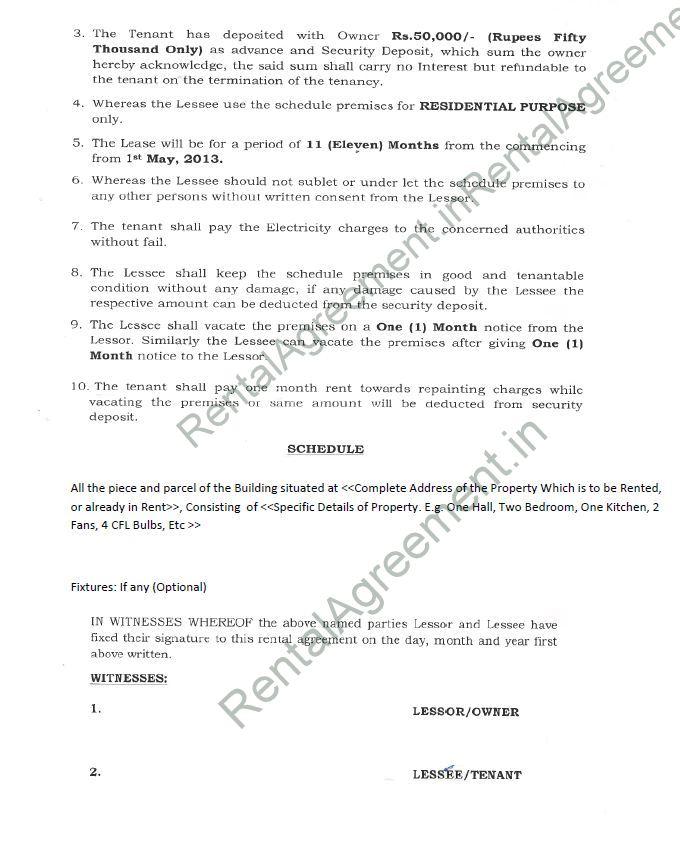 Rental Agreement Format - Agreement  Affidavit - Rental Agreement
