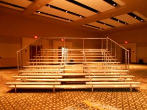 Indoor bleachers with center aisle