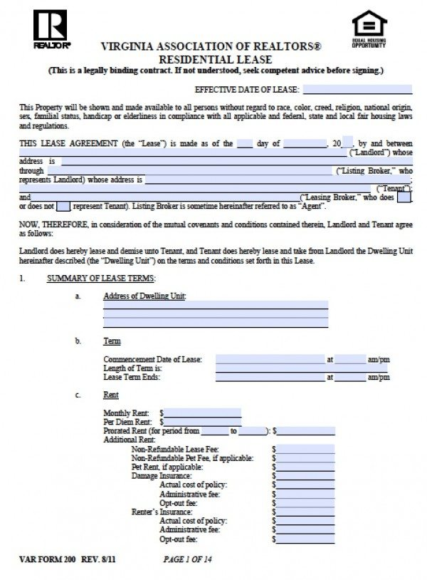 Free Virginia Residential Lease Agreement PDF Word (doc) - free rental lease agreement download