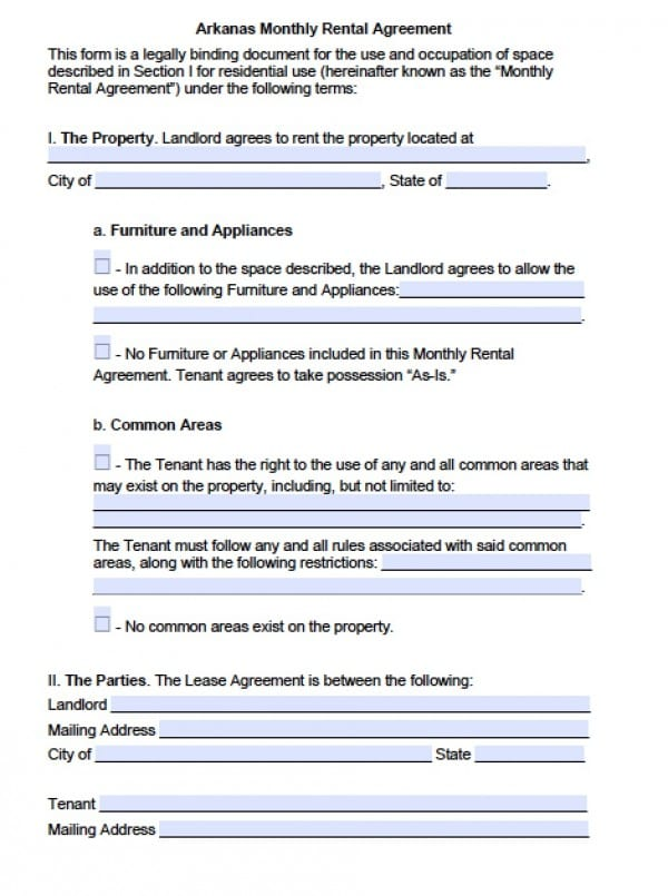Free Arkansas Month-to-Month Lease Agreement PDF Word (doc) - Commercial Property Lease Agreement Free Template