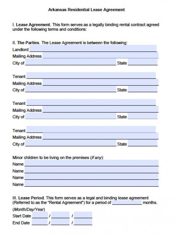 Free Arkansas Residential Lease Agreement PDF Word (doc)
