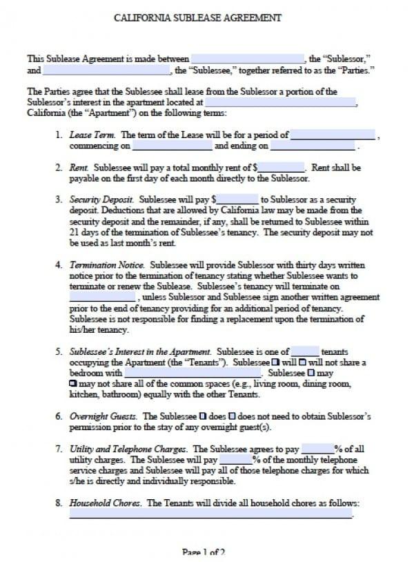 Free California Sub-Lease Agreement PDF Word (doc)