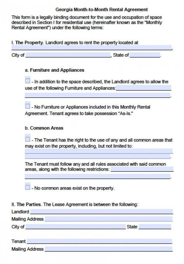 Free Georgia Month-to-Month Lease Agreement PDF Word (doc)