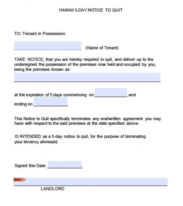 Free Hawaii Five (5) Day Notice to Quit Eviction Form PDF - eviction notice template