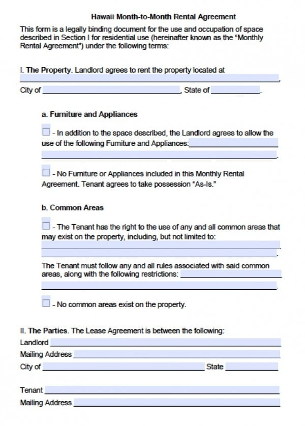 Free Hawaii Month-to-Month Lease Agreement PDF Word (doc)