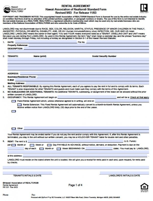 Free Hawaii Residential Lease Agreement PDF Word (doc) - rental agreement