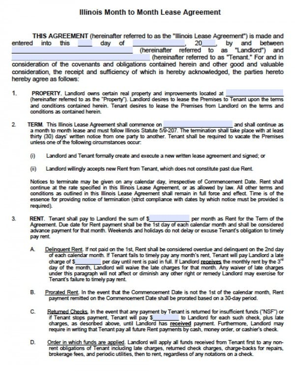 Free Illinois Month-to-Month Lease Agreement PDF Word (doc) - rental lease agreement
