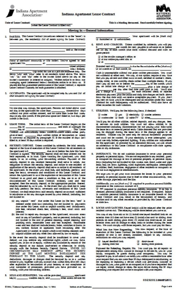 Free Indiana Residential Lease Agreement PDF Word (doc) - apartment lease agreement free printable
