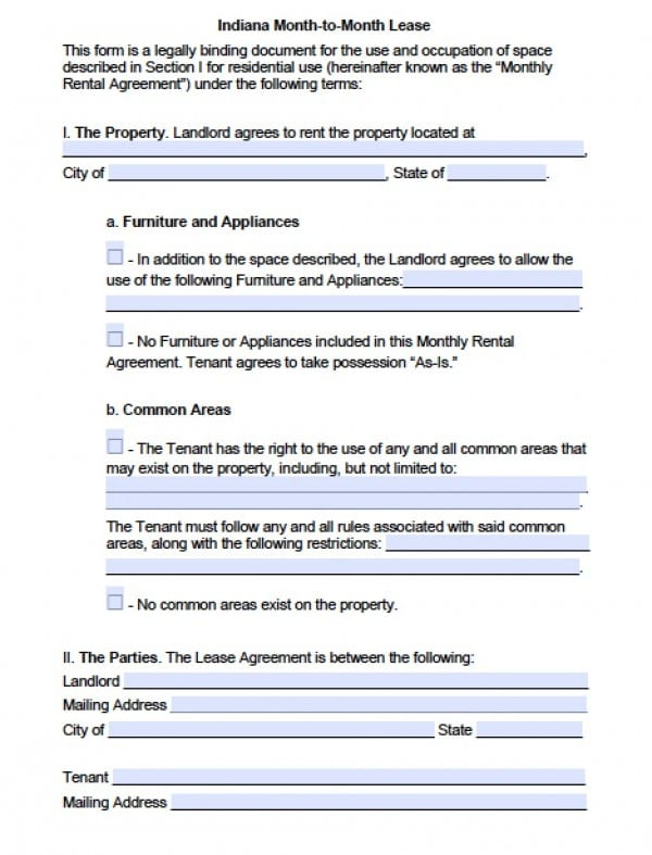 Free Indiana Month-to-Month Lease Agreement PDF Word (doc) - month to month lease agreement example
