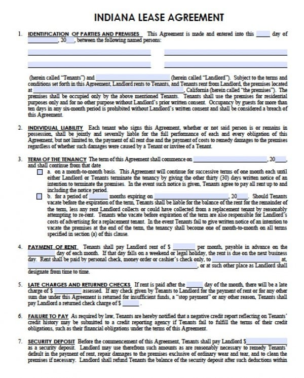 Free Indiana Residential Lease Agreement PDF Word (doc) - rental lease agreement