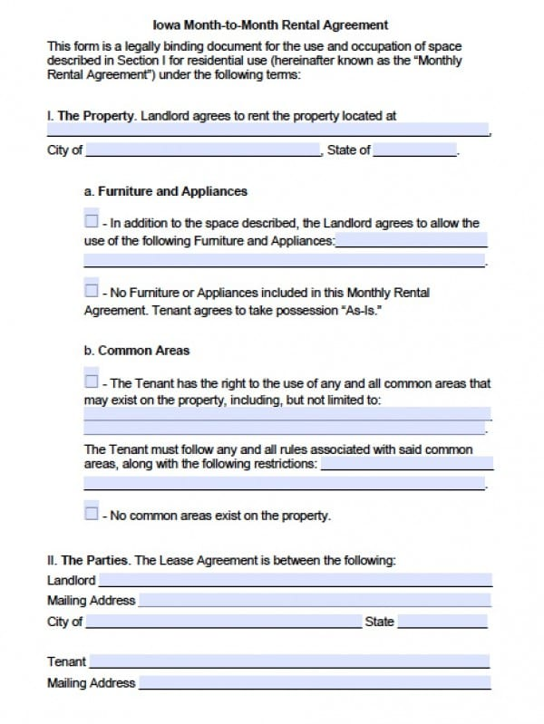 Free Iowa Month-to-Month Rental Agreement PDF Word (doc)