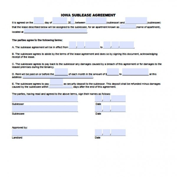 Free Iowa SubLease Agreement PDF Word (doc) - basic sublet agreement